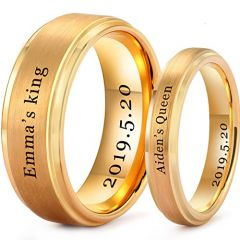 *COI Gold Tone Tungsten Carbide King Queen Ring With Custom Names Engraving-TG5201