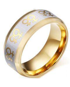 COI Titanium Gold Tone Silver Diagonal Grooves Ring-5346