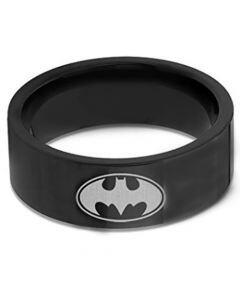 **COI Black Tungsten Carbide Batman Pipe Cut Flat Ring-TG676