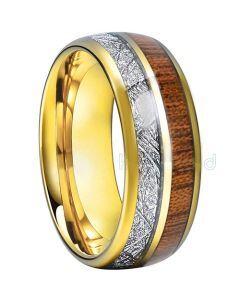 COI Gold Tone Tungsten Carbide Meteorite & Wood Ring - TG793AA