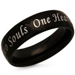 *COI Black Tungsten Carbide Two Souls One Heart Ring-846