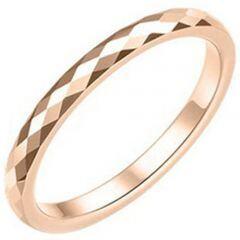 COI Rose Titanium Faceted Wedding Band Ring - JT3848