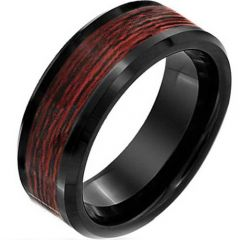 COI Black Titanium Wood Beveled Edges Ring - JT3836