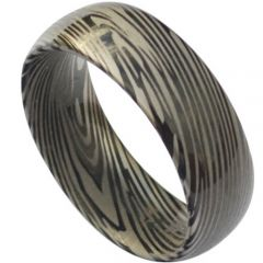 COI Titanium Black Silver Damascus Dome Court Ring - JT3833