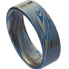 **COI Titanium Blue Silver Damascus Pipe Cut Flat Ring - JT1373AA