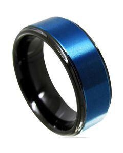 COI Tungsten Carbide Black Blue Step Edges Ring - TG4320