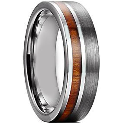 COI Titanium Pipe Cut Flat Ring With Wood - JT1272A