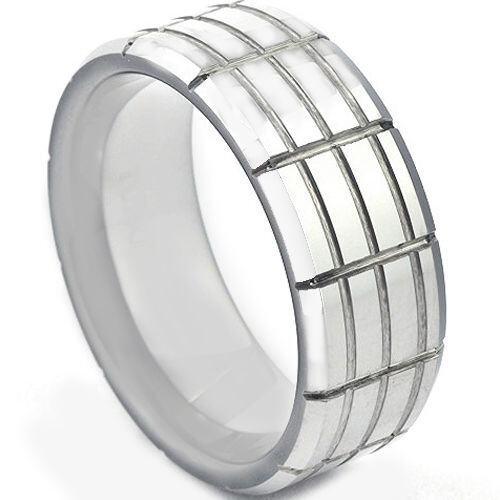 COI Tungsten Carbide Tire Tread Wedding Band Ring - TG1347