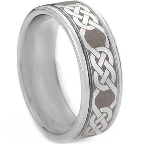 *COI Tungsten Carbide Celtic Step Edges Ring - TG1434