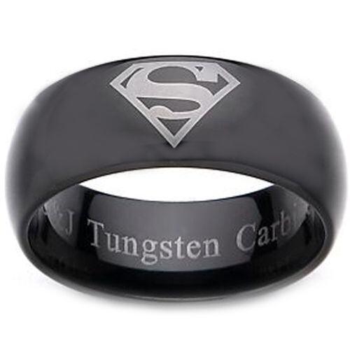 **COI Black Tungsten Carbide Superman Dome Court Ring - TG2277