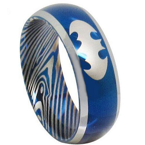 **COI Titanium Blue Silver Batman Damascus Beveled Edges Ring-281A