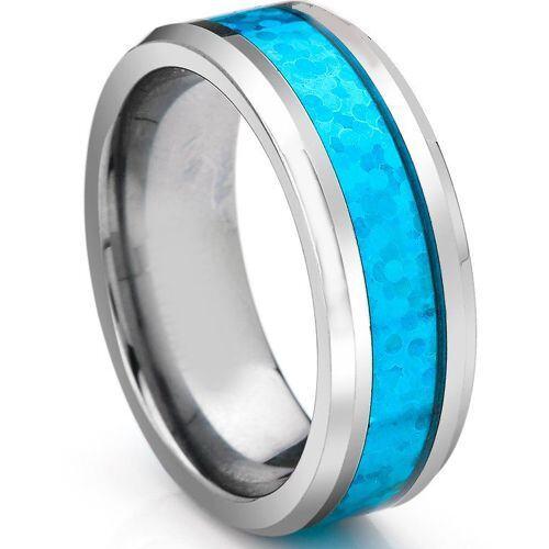 COI Titanium Crushed Opal Beveled Edges Ring - 3336