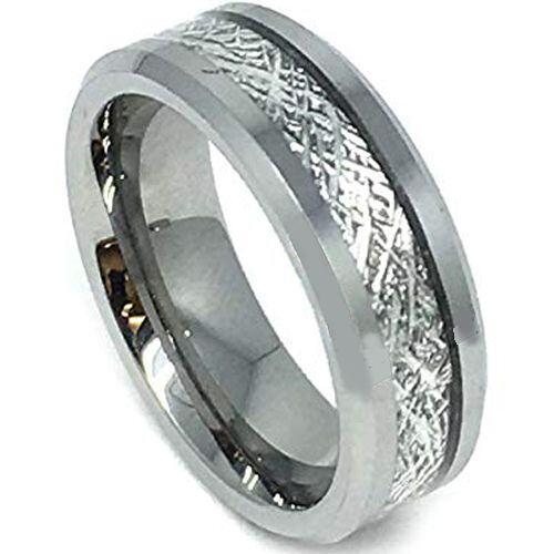 COI Titanium Beveled Edges Ring With Meteorite - JT3387