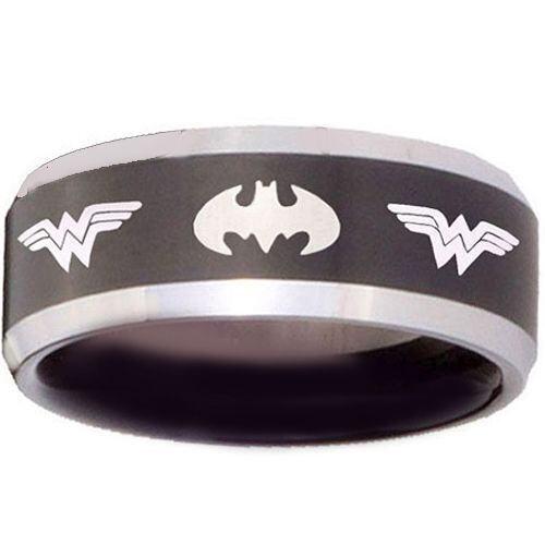 **COI Tungsten Carbide Batman & Wonder Woman Ring - TG3683
