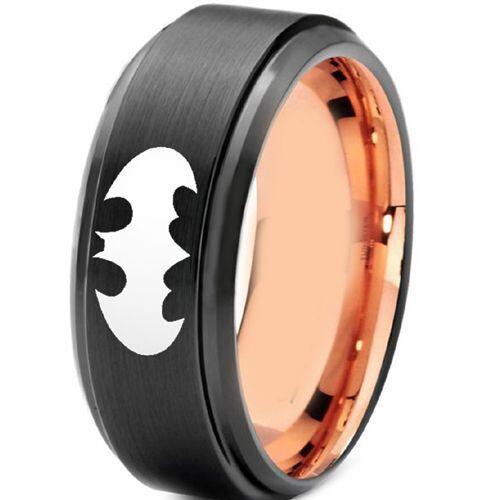 **COI Titanium Black Rose Batman Step Edges Ring - 3691
