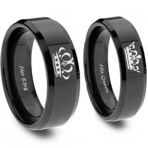 *COI Black Titanium King Queen Crown Beveled Edges Ring-JT3770