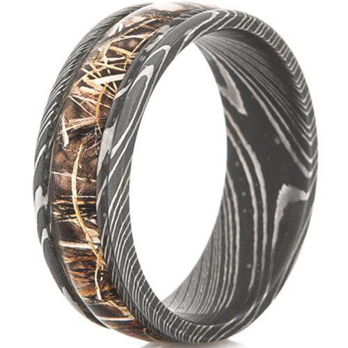 COI Black Titanium Camo Damascus Beveled Edges Ring-JT3782