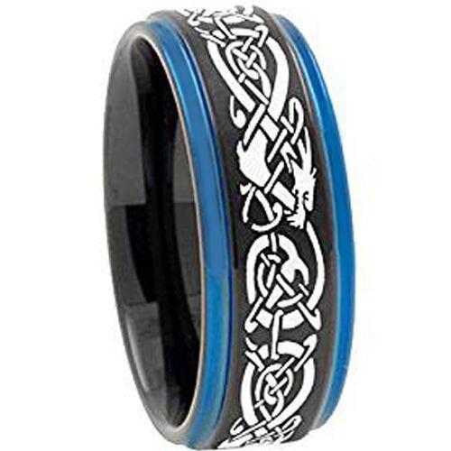 COI Titanium Black Blue Dragon Step Edges Ring-3797AA