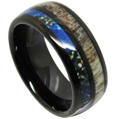 COI Black Titanium Deer Antler & Blue Wood Dome Court Ring - JT3986