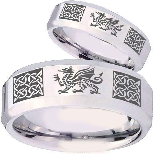 COI Titanium Celtic Dragon Beveled Edges Ring - 4131