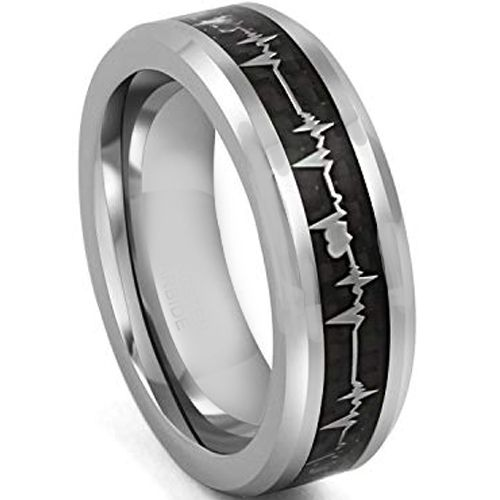 *COI Tungsten Carbide Heartbeat Ring With Carbon Fiber-4311
