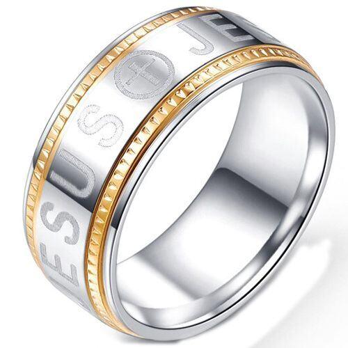 COI Titanium Gold Tone Silver Cross Jesus Ring-5243