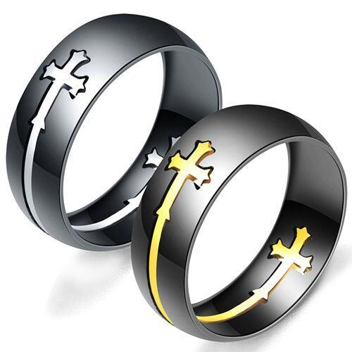 COI Titanium Black Gold Tone/Silver Cross Ring-5245