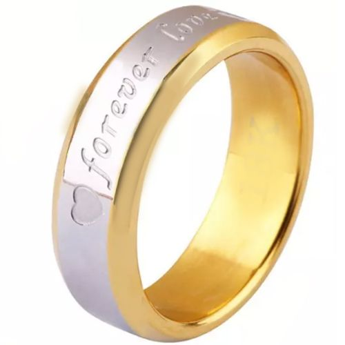 COI Tungsten Carbide Gold Silver Forever Love Heart Ring-TG5253