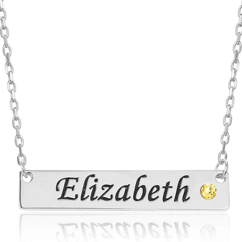 COI Titanium Custom Name Pendant With Stainless Steel Chain and Cubic Zirconia-5311