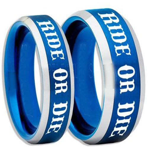 COI Tungsten Carbide Blue Silver Ride or Die Beveled Edges Ring-5408