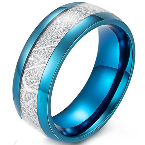 COI Blue Titanium Meteorite Dome Court Ring-5410