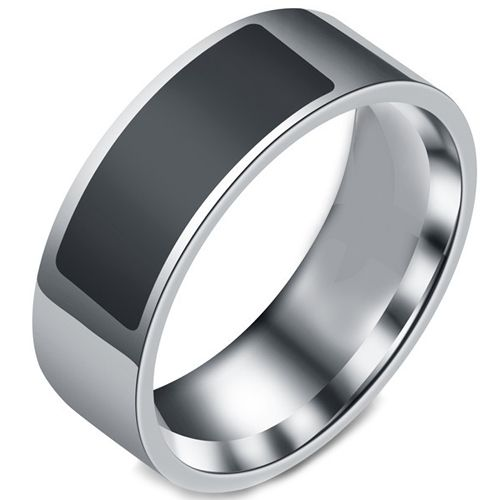 COI Titanium Black Silver NFC For Android Pipe Cut Flat Ring-5426