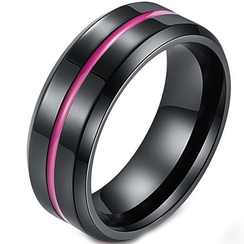 COI Titanium Black Purple Center Groove Beveled Edges Ring-5427