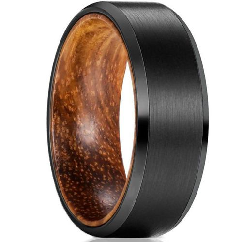 COI Black Tungsten Carbide Beveled Edges Ring With Wood-5467