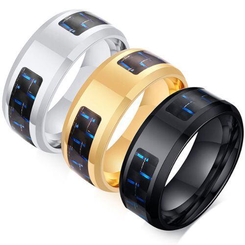 COI Titanium Silver/Black/Gold Tone Signet Ring With Carbon Fiber-5571