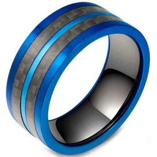 *COI Titanium Black Blue Pipe Cut Flat Ring With Carbon Fiber-5800