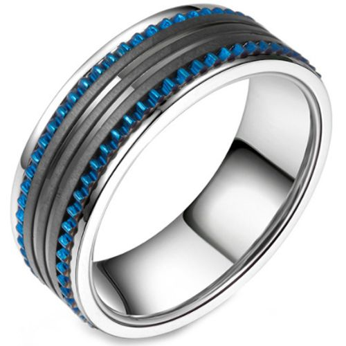 COI Titanium Black Blue Tire Tread Ring-5802