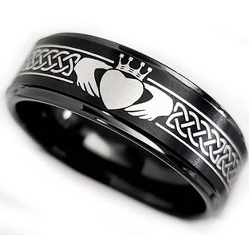 **COI Black Tungsten Carbide Mo Anam Cara Celtic Step Edges Ring-5862