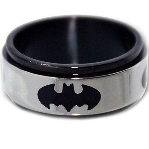 COI Titanium Black Silver BatMan Step Edges Ring - JT1156A
