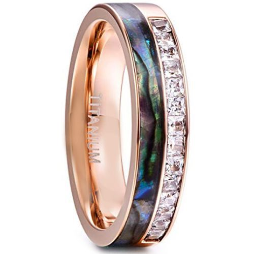 COI Rose Titanium Abalone Shell Ring With Cubic Zirconia-JT1336