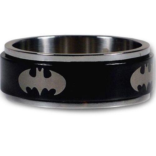 COI Titanium Black Silver BatMan Step Edges Ring - JT1438A