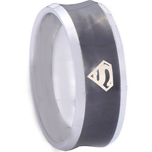 *COI Tungsten Carbide Black Silver Superman Concave Ring-TG4151