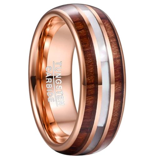 COI Rose Tungsten Carbide Abalone Shell & Wood Ring-TG5071