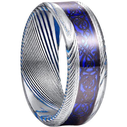 *COI Tungsten Carbide Blue Silver Dragon Damascus Beveled Edges Ring-5827