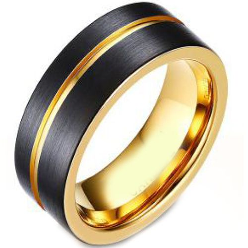 *COI Titanium Black Gold Tone Offset Groove Ring - JT3956