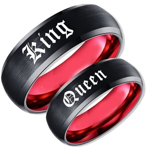 *COI Tungsten Carbide Black Red King Queen Ring-TG1830