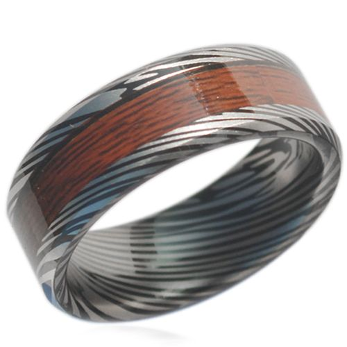 COI Black Tungsten Carbide Damascus Wood Ring-TG1838AA