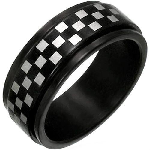 *COI Black Tungsten Carbide Checkered Flag Ring - TG1902