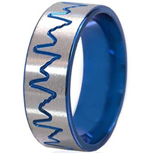 *COI Tungsten Carbide Blue Silver Heartbeat Pipe Cut Ring-195