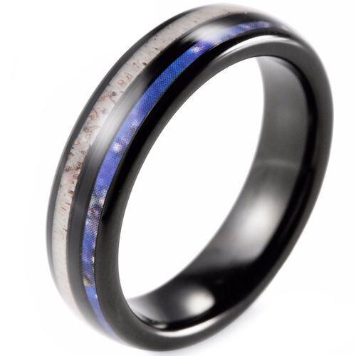 COI Black Tungsten Carbide Deer Antler & Blue Wood Dome Court Ring-2283